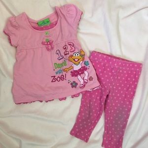 Sesame Street Zoe pink polka dot two piece set